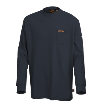 Navy - 333 Flame Resistant Long Sleeved Navy T-Shirt   Safetywear.ca