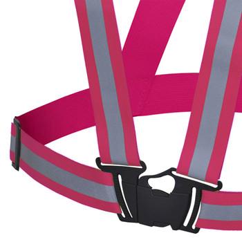 "Pink - 5498 Hi-Viz Adjustable Safety Sash - 1-1/2"" Elastic - Hangable Bag | Safetywear.ca"
