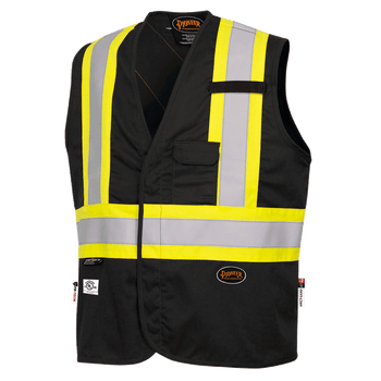 Black - 7729 Hi-Viz FR-Tech 88/12 Fire Resistance Safety Vest 7oz | Safetywear.ca