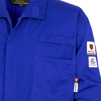 Royal Blue - Radiophone Clip, 7779T FR-Tech 88/12 - Arc Rated Frame Resistance - Tall Coveralls 7oz - Royal Blue | Safetywear.ca