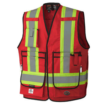 Hi-Viz Red - 7731 FR-Tech 88/12 Fire Resistance ARC Rated Surveyor's Safety Vests 7oz | Safetywear.ca