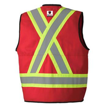 Pioneer 7731 FR-Tech 88/12 Flame Resistance/ARC Rated Surveyor's Safety Vests 7oz - Hi-Viz Red | Safetywear.ca