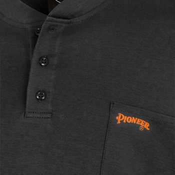 Black - Back, 332 100% Cotton Fire Resistance Interlock 7oz Henley Shirt | Safetywear.ca