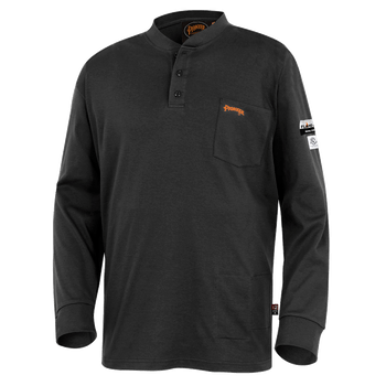 Black - 332 100% Cotton Fire Resistance Interlock 7oz Henley Shirt | Safetywear.ca