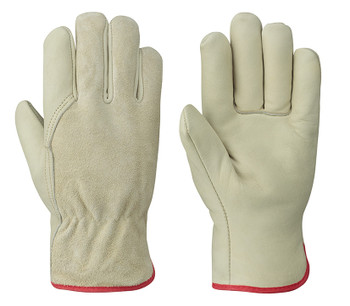 Cream/Red 535FLRF Insulated Driver's Cowgrain Glove
