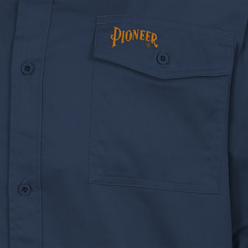 Navy - Back, 4404 Polyester/Cotton Long Sleeved Work Shirt    Safetywear.ca
