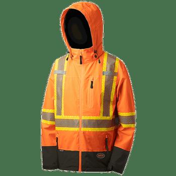 Hi-Viz Orange - Softshell Waterproof/Breathable Premium Safety Jacket | Safetywear.ca