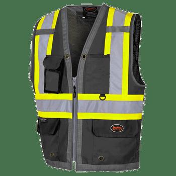 6671 Black Mesh Surveyor Vest   Safetywear.ca