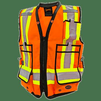 Pioneer 6676 High Denier Surveyor's Vest - Hi-Viz Orange | Safetywear.ca
