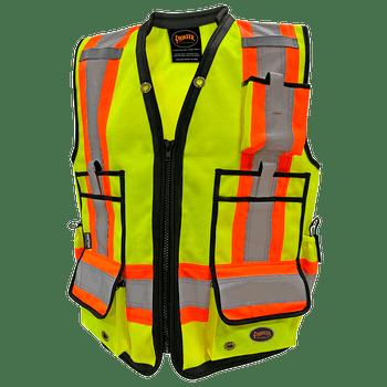 Pioneer 6677 High Denier Surveyor's Vest - Hi-Viz Yellow/Green   Safetywear.ca