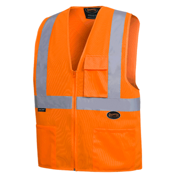 "6962 Front Zip Safety Vest with 2"" Tape - Hi-Viz Orange 