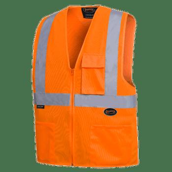 """Pioneer 6962 Front Zip Safety Vest with 2"""" Tape - Hi-Viz Orange   Safetywear.ca"""
