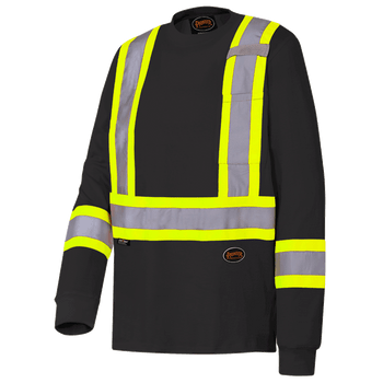 Pioneer 6983 Cotton Long Sleeved Safety Shirt - Black | Safetywear.ca