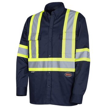 4414 Button Poly/Cotton with Reflective Tape Work Shirt | Safetywear.ca