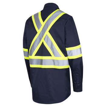 Pioneer 4414 Button Poly/Cotton with Reflective Tape Work Shirt - Navy | Safetywear.ca