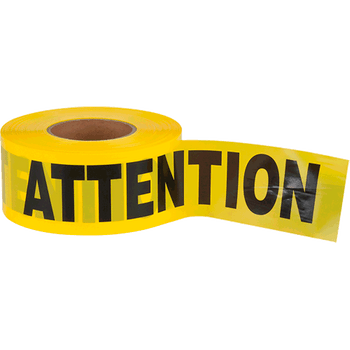 "387PQ Yellow Barricade Warning Tape ""Attention"" - 1000' 