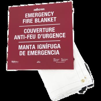 Sellstorm 100% Fiberglass High-Temp Emergency Fire Blanket - In Metal Storage Cabinet | Safetywear.ca