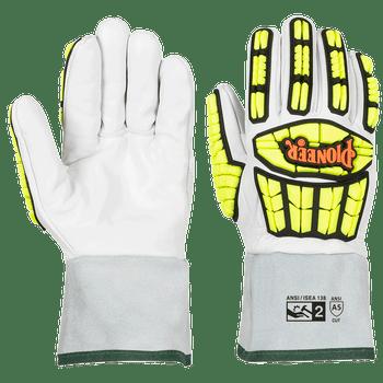 Pioneer Level A5 & Cut & Puncture Resistant Gauntlet Cuff Goatskin Gloves - TPR