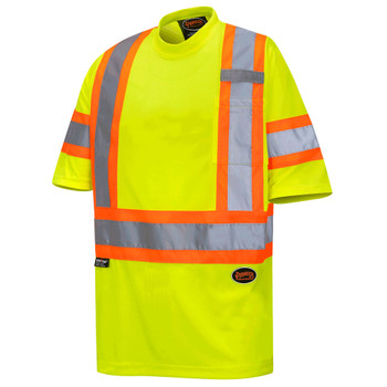 Pioneer 6971 Birdseye Safety T-shirts with Tape on Sleeves - Hi-Viz Yellow | Safetywear.ca