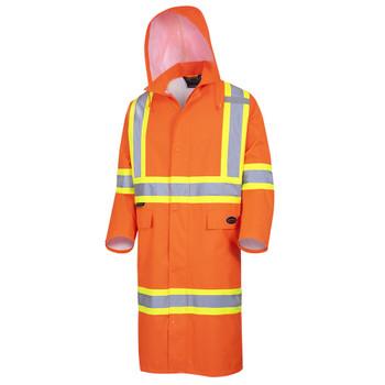 "Pioneer 5630 ""The Rock"" 300D Oxford Waterproof Poly Long Coat - Orange | Safetywear.ca"