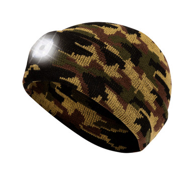Pioneer 5677 Knit Toque with LED Headlight - Camo | Safetywear.ca