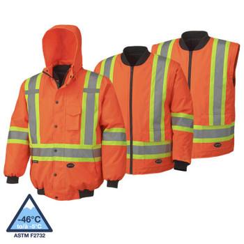 Pioneer 5022 Waterproof 7-IN-1 Safety Bombers Jacket - HI-Viz Orange | Safetywear.ca
