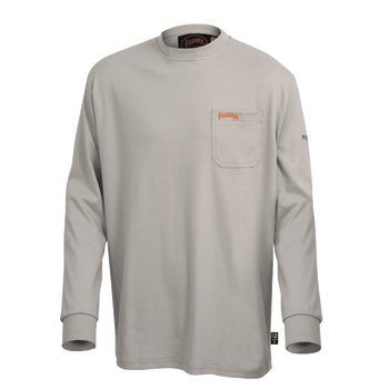 Grey - 333 Flame Resistant Long Sleeved Navy T-Shirt   Safetywear.ca
