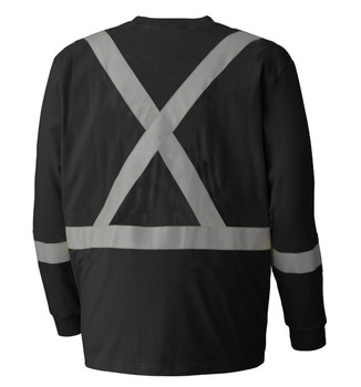 340SFA Flame Resistant Long-Sleeved Cotton Safety Shirt Back