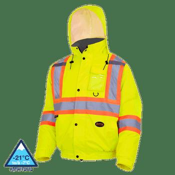 Pioneer 5033 Waterproof Winter Quilted Safety Bombers jacket - Hi-Viz Yellow/Green | Safetywear.ca