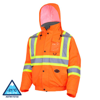Pioneer 5032 Winter Quilted Safety Bombers Jacket - Hi-Viz Orange | Safetywear.ca