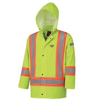 Yellow - 5894 Flame Resistant PU Stretch Hi-Viz Waterproof Jacket