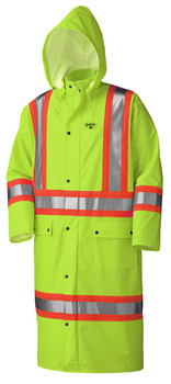 Yellow-Green - 5897 Flame Resistant PU Stretch Hi-Viz Long Waterproof Coat