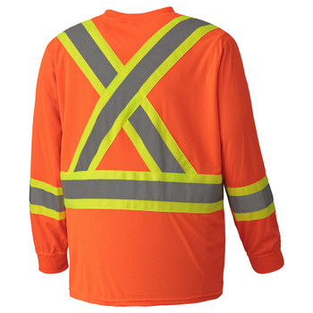 Orange, Back - 6995 Birdseye Long-Sleeved Safety Shirt | Safetywear.ca