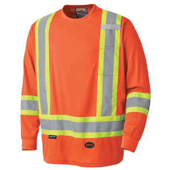 Orange - 6995 Birdseye Long-Sleeved Safety Shirt | Safetywear.ca