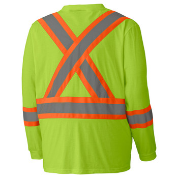 Yellow Green Birdseye Long-Sleeved Safety T-shirt Back