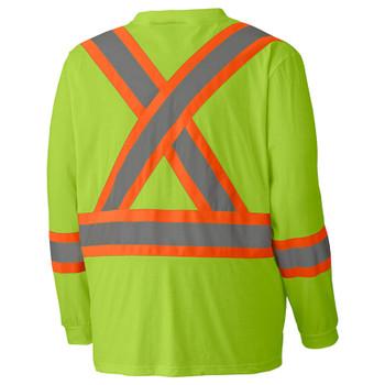 Yellow Green Birdseye Long-Sleeved Safety T-shirt Back