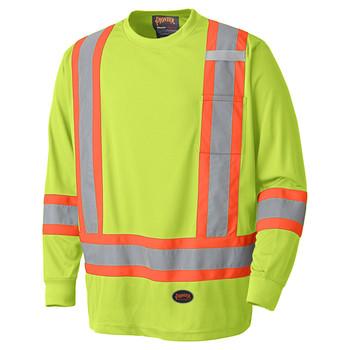 Yellow Green Birdseye Long-Sleeved Safety T-shirt