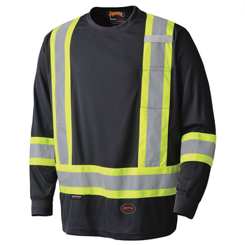 Black - 6997 Birdseye Long-Sleeved Safety T-Shirt