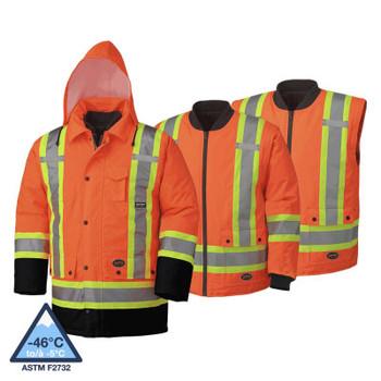 Pioneer 5020BB Waterproof 7-IN1 Safety Parkas - HI-Viz Orange | Safetywear.ca