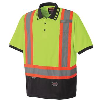 Pioneer 6987 Safety Short Sleeve Polo Shirt - Hi-Viz Yellow/Green | Safetywear.ca