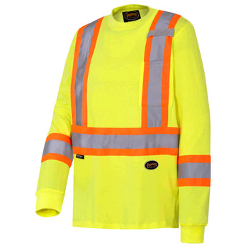 Pioneer 6982 Safety Long Sleeved 100 Cotton Shirt - Yellow/Green | Safetywear.ca