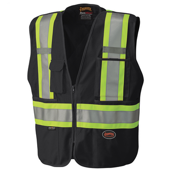 Black - 6937 Hi-Viz Safety Tear-Away Mesh Back Vest | Safetywear.ca