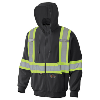 Black - 6942 Hi-Viz Micro Fleece Zip Hoodie | Safetywear.ca