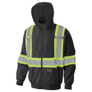 Pioneer 6942 Hi-Viz Micro Fleece Zip Safety Hoodie - Black | Safetywear.ca