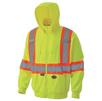 Pioneer 6941 Hi-Viz Micro Fleece Zip Hoodie - Hi-Viz Yellow/Green   Safetywear.ca