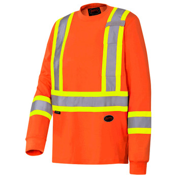 Pioneer 6981 Safety Long Sleeved 100% Cotton Shirt - Orange | Safetywear.ca