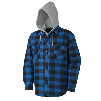 Pioneer 415SS Quilted Hooded Polar Fleece Shirt - Royal/Black Plaid | Safetywear.ca