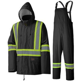 Black - 5599BK Hi-Viz Lightweight Rain Suit
