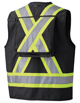 Black 100% Cotton Duck Surveyor's/Supervisor's Vest with Radio Pocket Back
