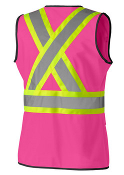 139PK Pink Hi-Viz Women's Safety Vest Back | Safetywear.ca